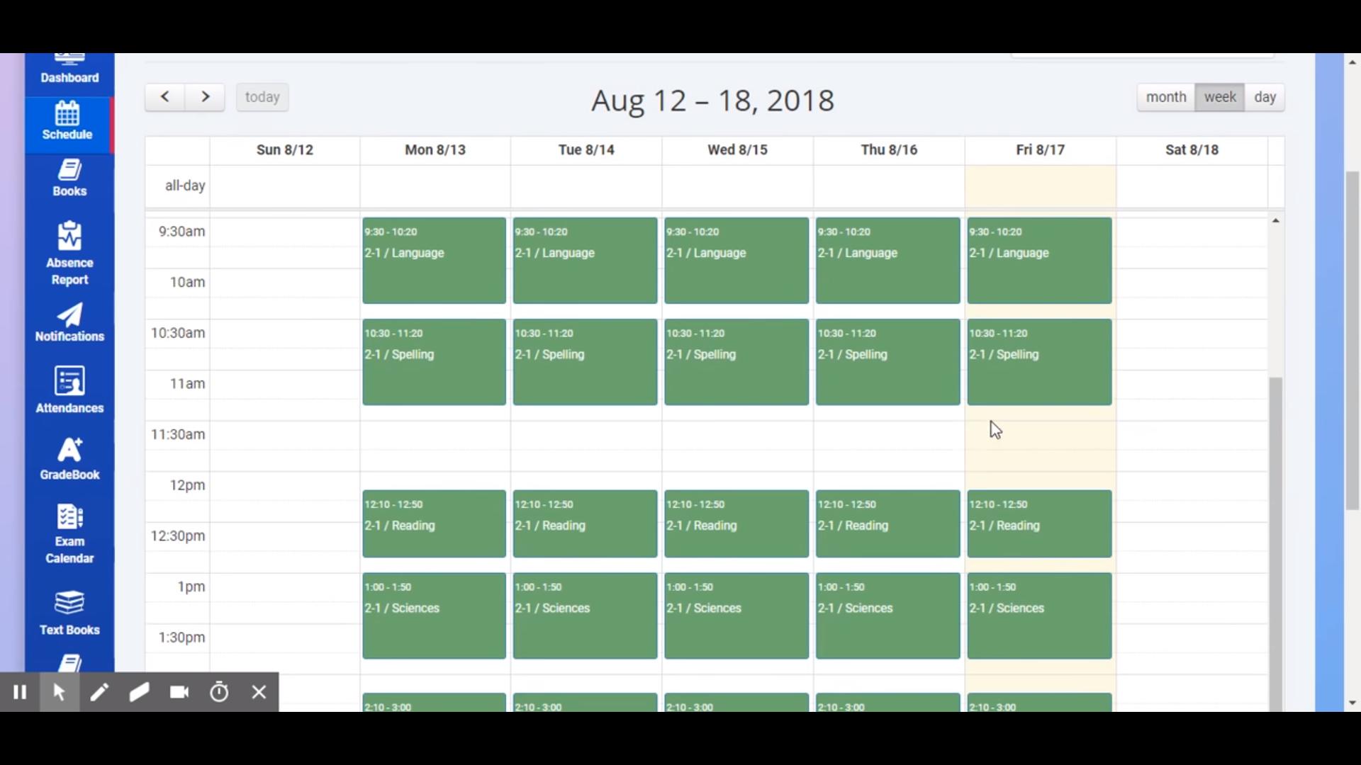 CollegeOne student schedule