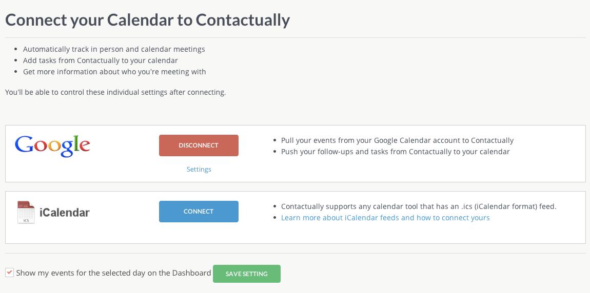 Contactually Software - Connect multiple calendars