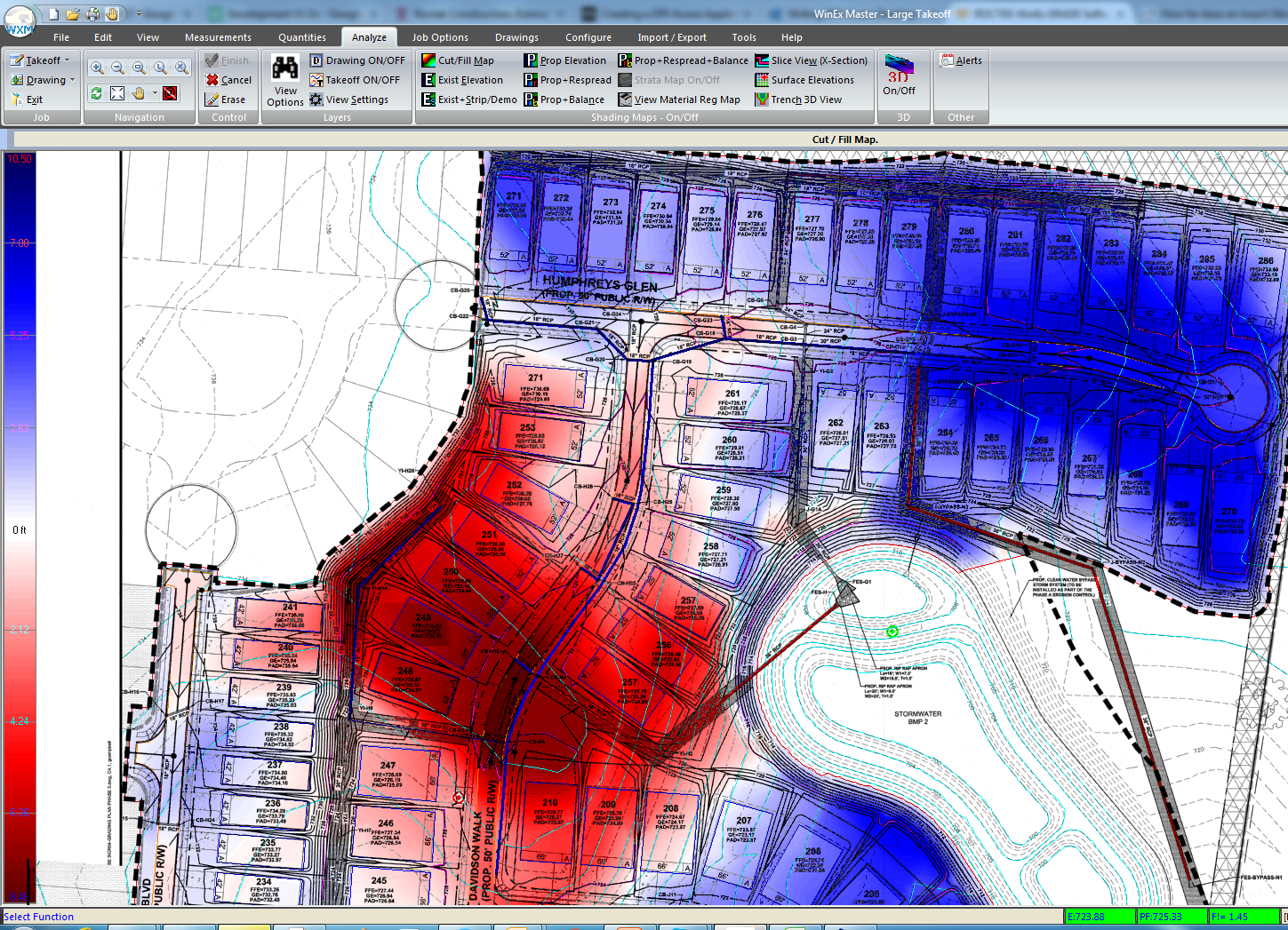 WinEx Software - Cut and fill map
