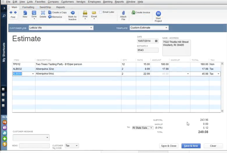 QuickBooks Desktop Pro Software - Estimate