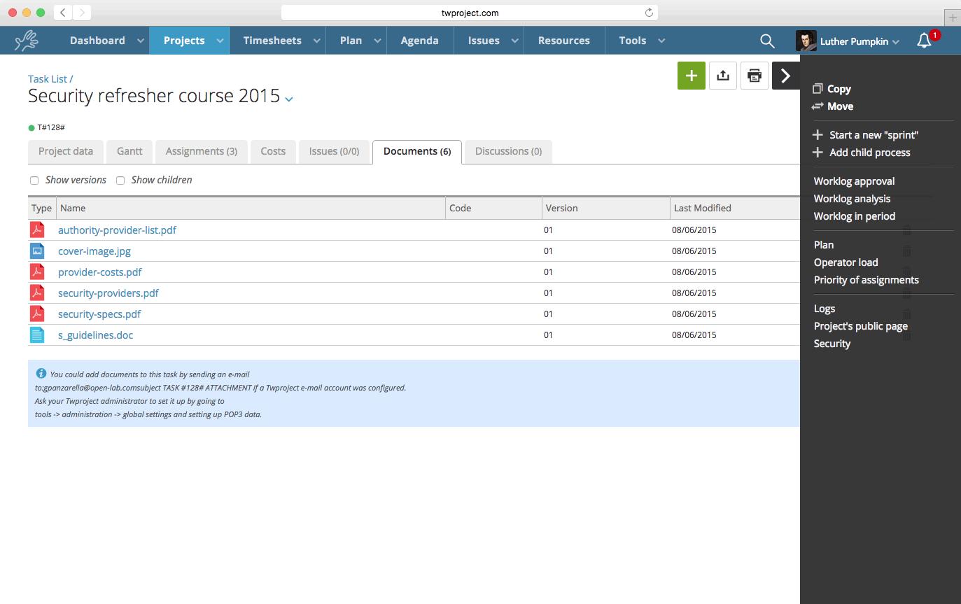 Twproject document management