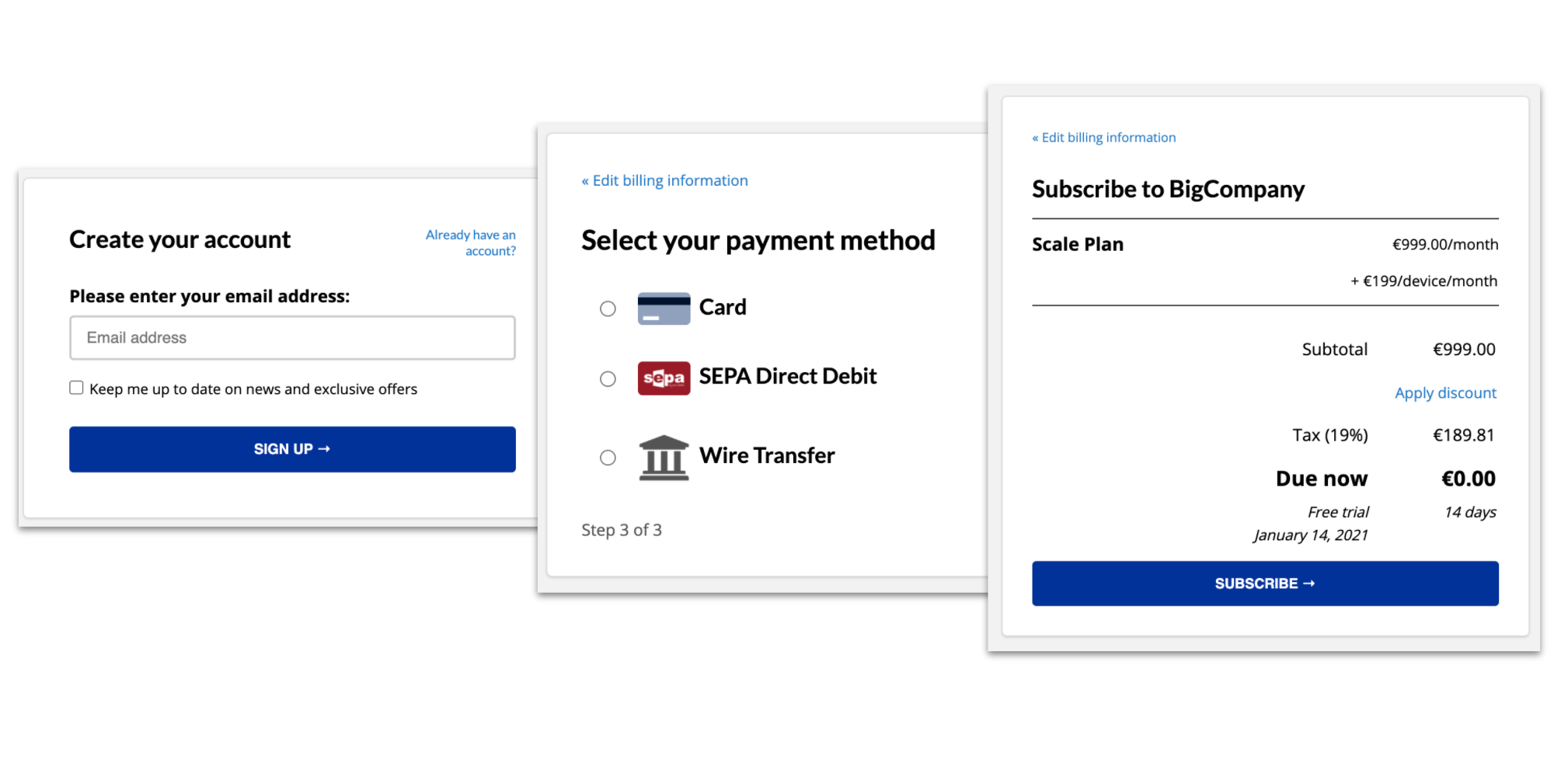 Abowire screenshot: Custome Checkout
