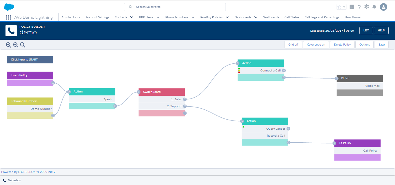 Natterbox screenshot: Build custom call policies in real time.