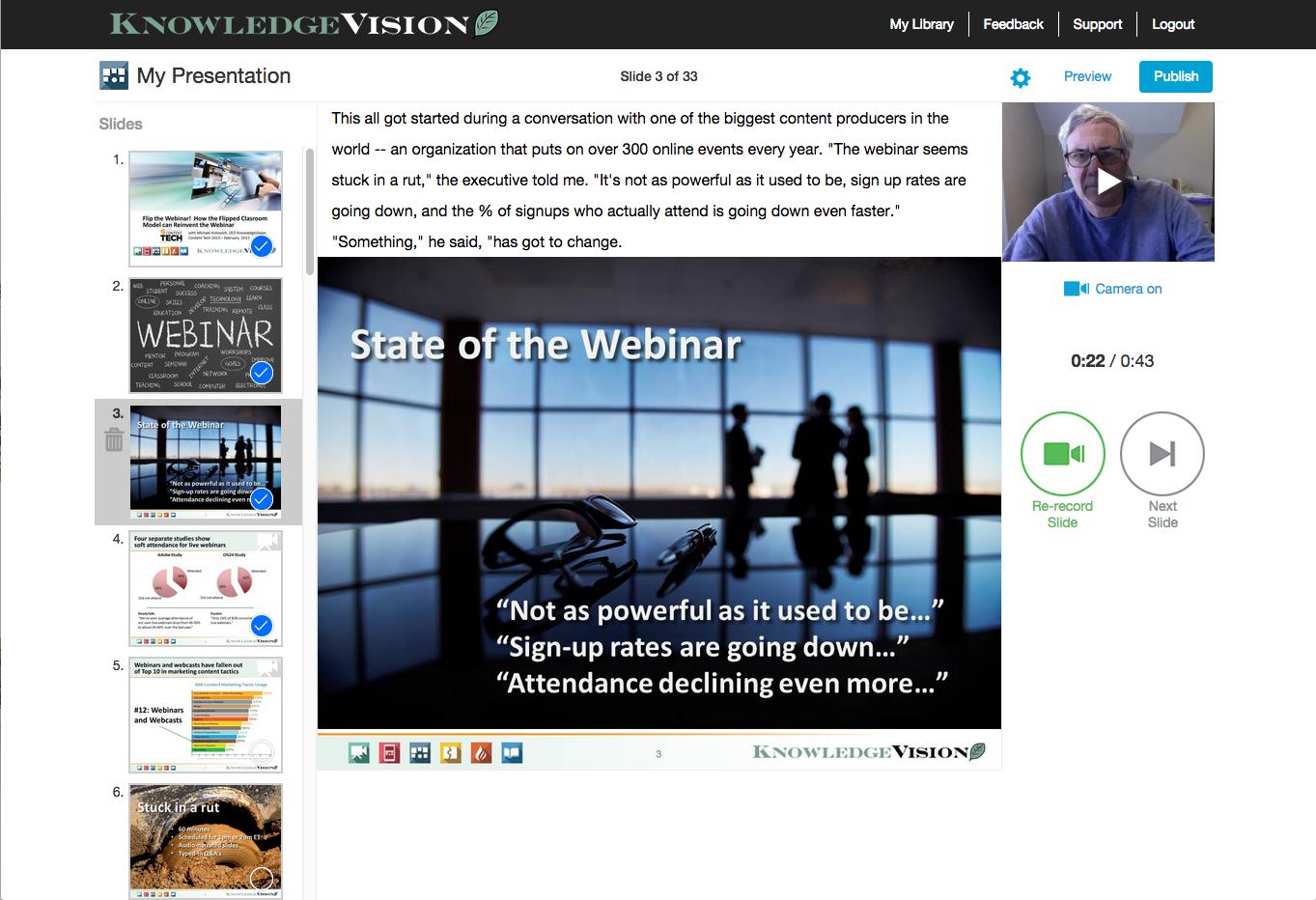 Recording a video presentation on Knovio Web