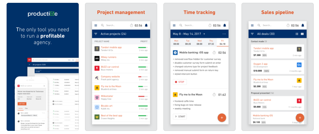 The Productive - Run your agency mobile app provides native access to features on iOS and Android devices