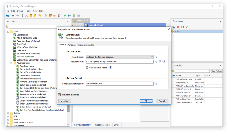 WinAutomation excel automation