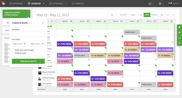 Fine tune the schedule while on-the-go. Schedule shifts, notify staff and simplify scheduling.