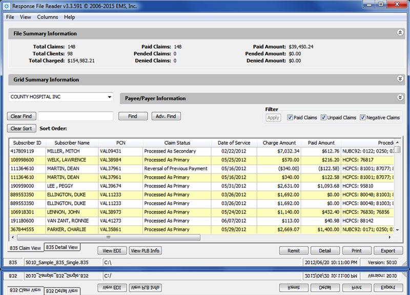 EDI Power Reader file summary information