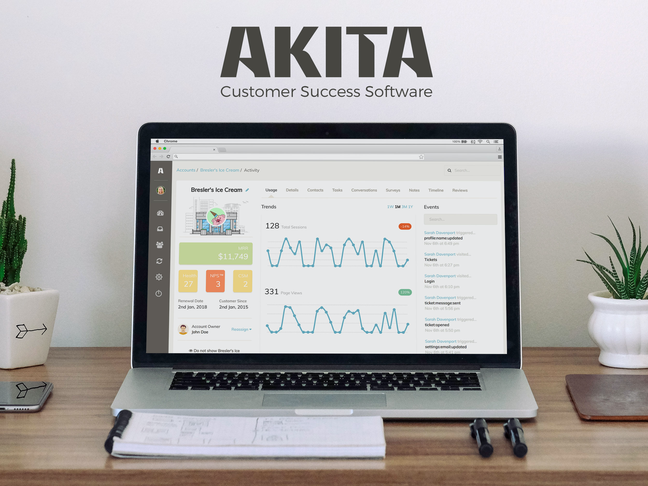 Akita is a full-featured Customer Success Management platform designed to help you nurture, retain and grow your customer base.