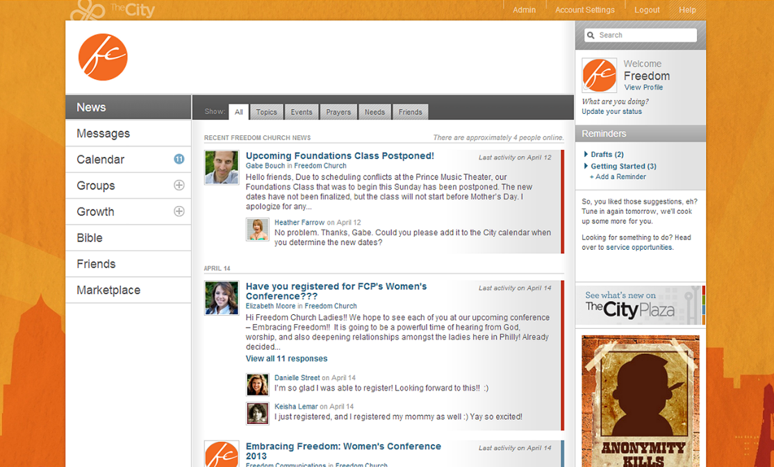 Newsfeed on member profile