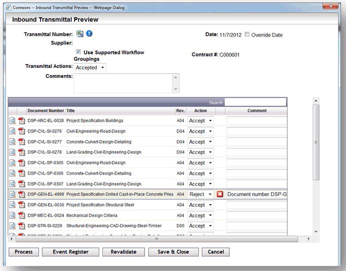 Coreworx screenshot: Coreworx - Transmittal Project Information Controls