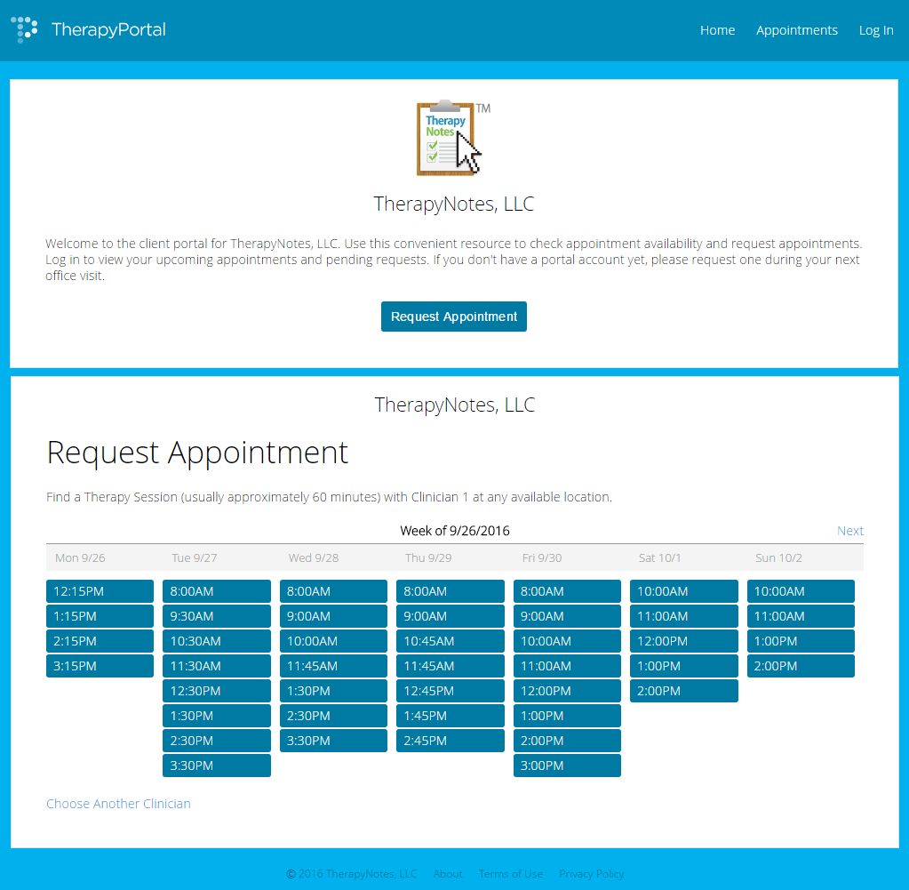 TherapyPortal.com (TherapyNotes client portal) enables clients to schedule and view appointments online. Patients or clients can also pay bills using credit cards.