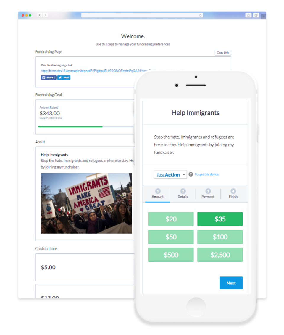 EveryAction forms are mobile responsive out-of-the-box, providing activists a seamless experience and automatically adapt to be displayed on any device