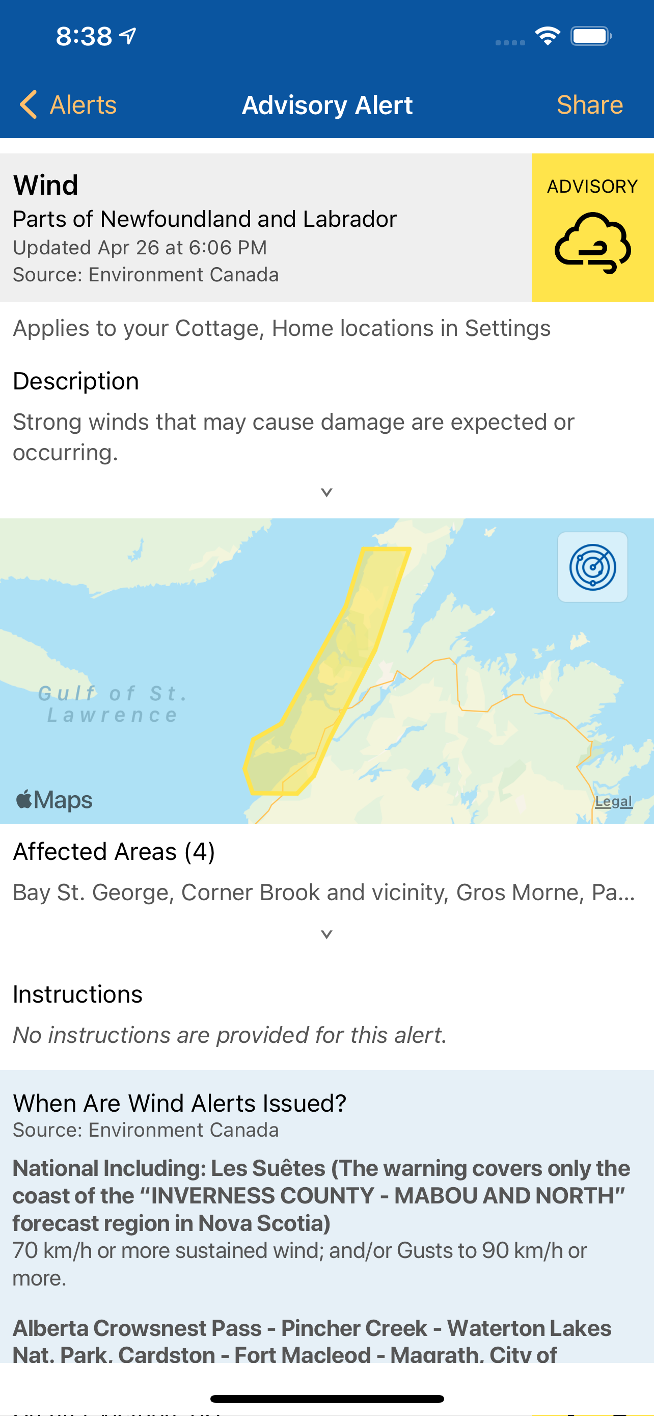 Alertable mobile app showing the level of information that can accompany a notification. Particularly beneficial for those who want more information than is possible with a SMS or phone message.