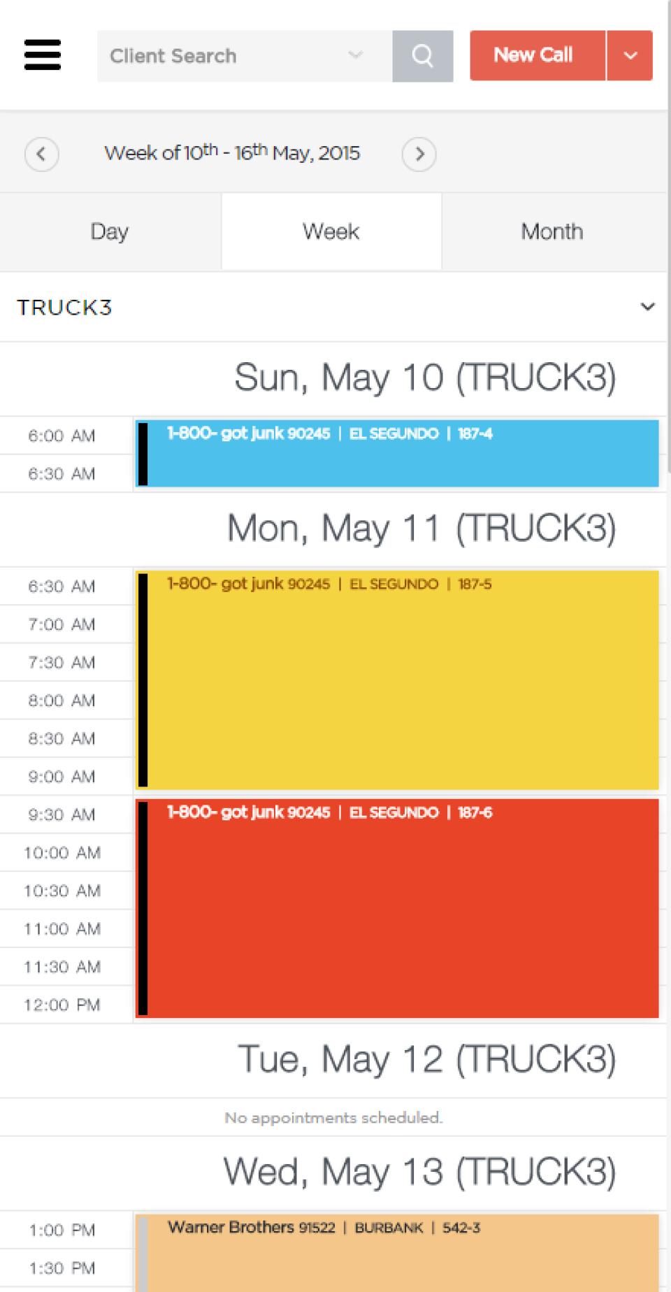 Vonigo Software - Phone - Week Schedule