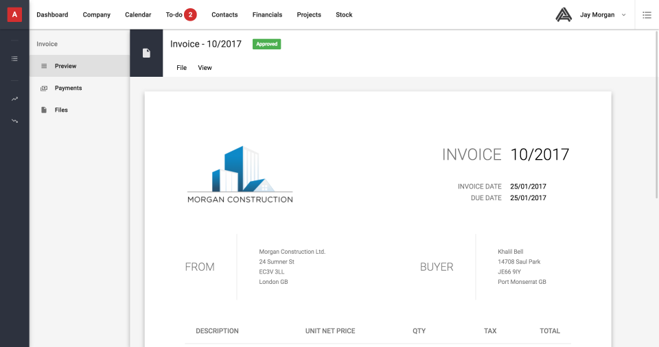 With a full accounting system built-in, users can quickly preview and print professional invoices