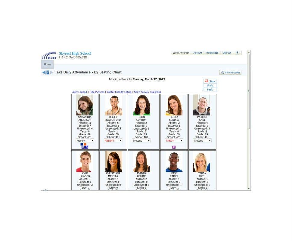 SKYWARD Student Management Suite Software - Attendance/seating chart