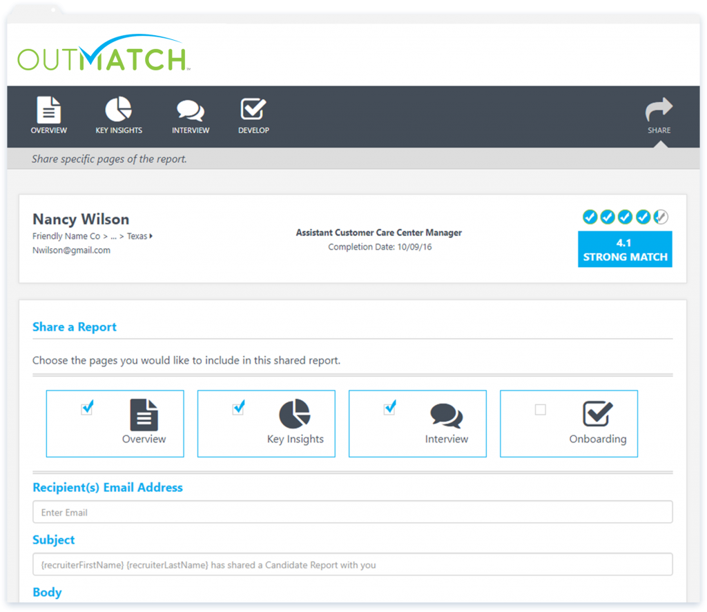 Candidate match reports may be shared with email contacts, giving the option to include only certain pages such as overview, key insights, interview and onboarding etc
