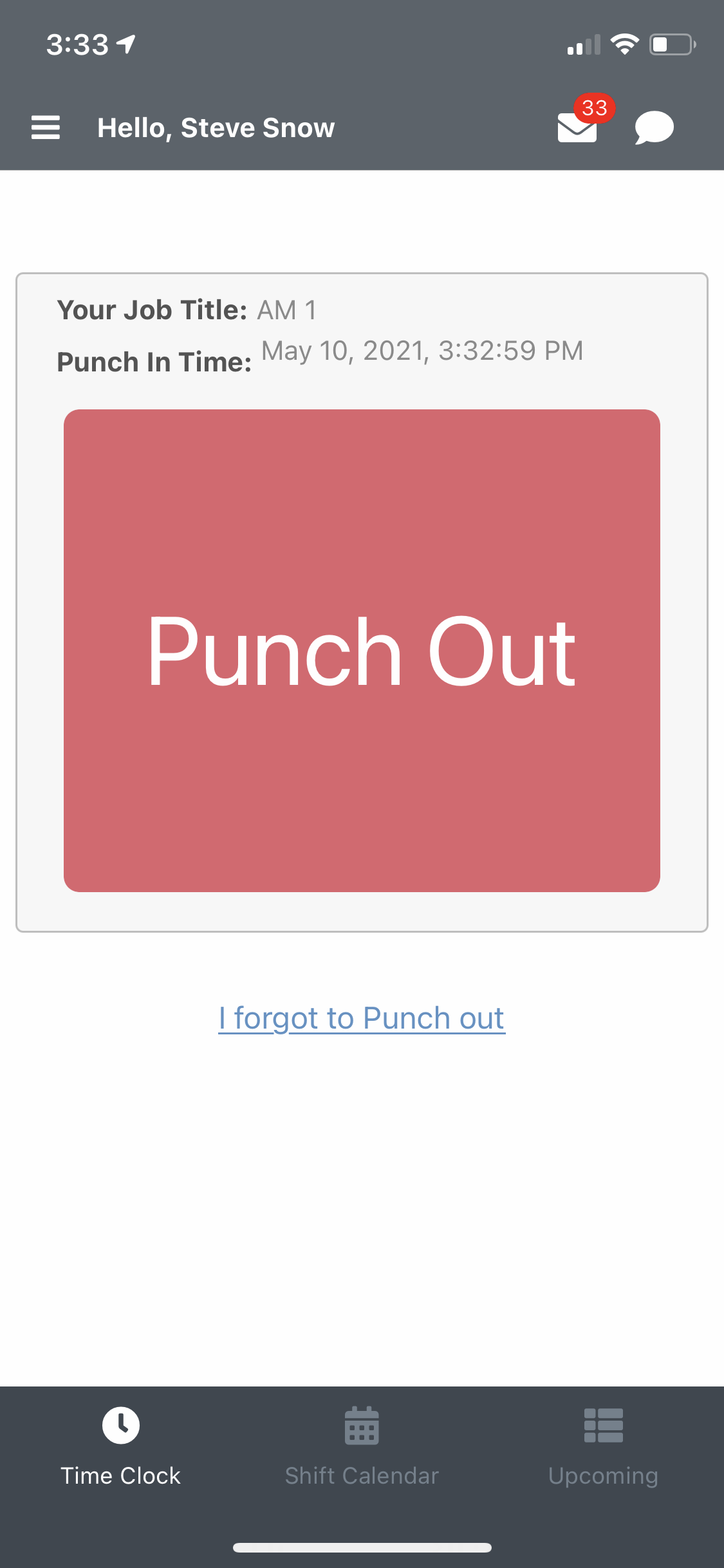 EasyShifts Software - Punch out
