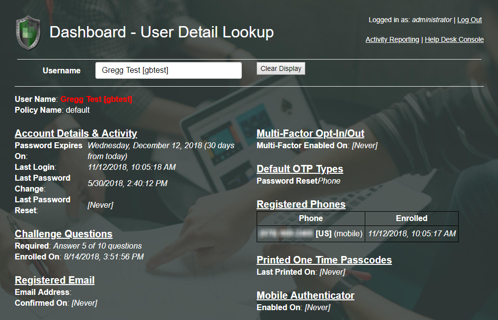 Help Desk User Detail Lookup