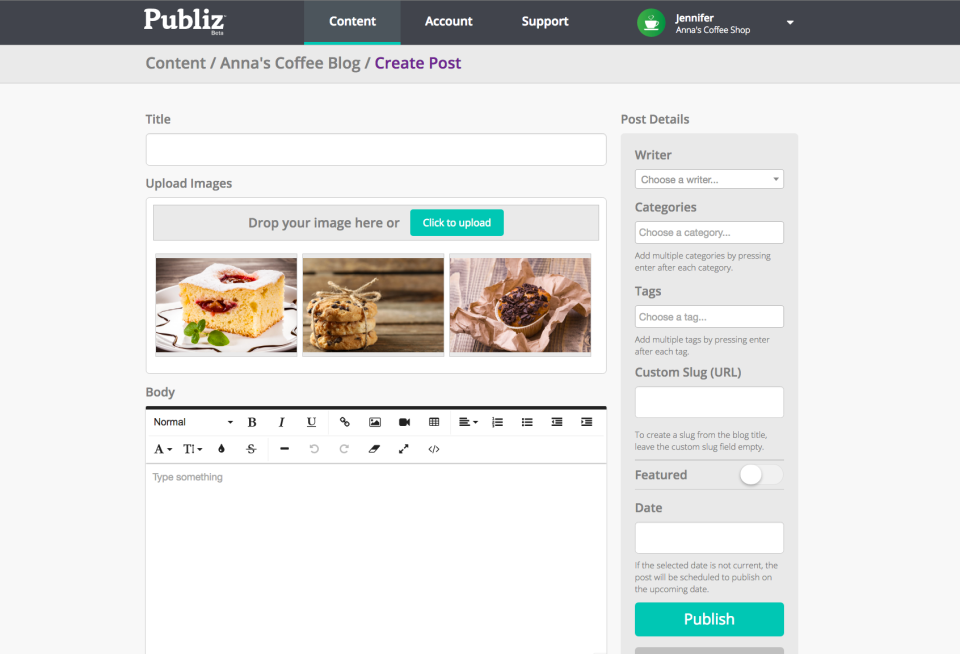 Creating a post in Publiz