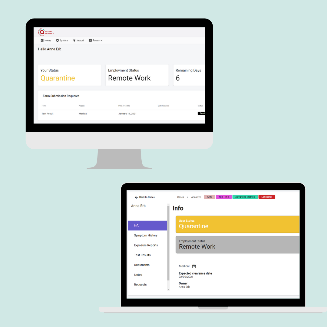 With QUALO Healthy Pathways, reports are easy to export, and workflows are clearly documented to show each step in managing a healthy student body or workforce. Individual and aggregate data is viewed on a centralized dashboard.