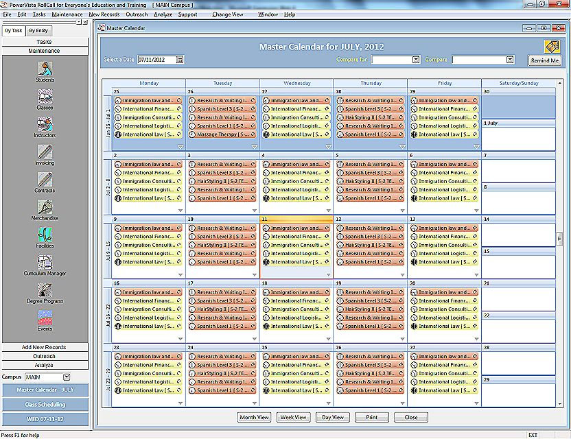 Smart calender feature in RollCall allows to track availablity of staff, students and classes and book appointments