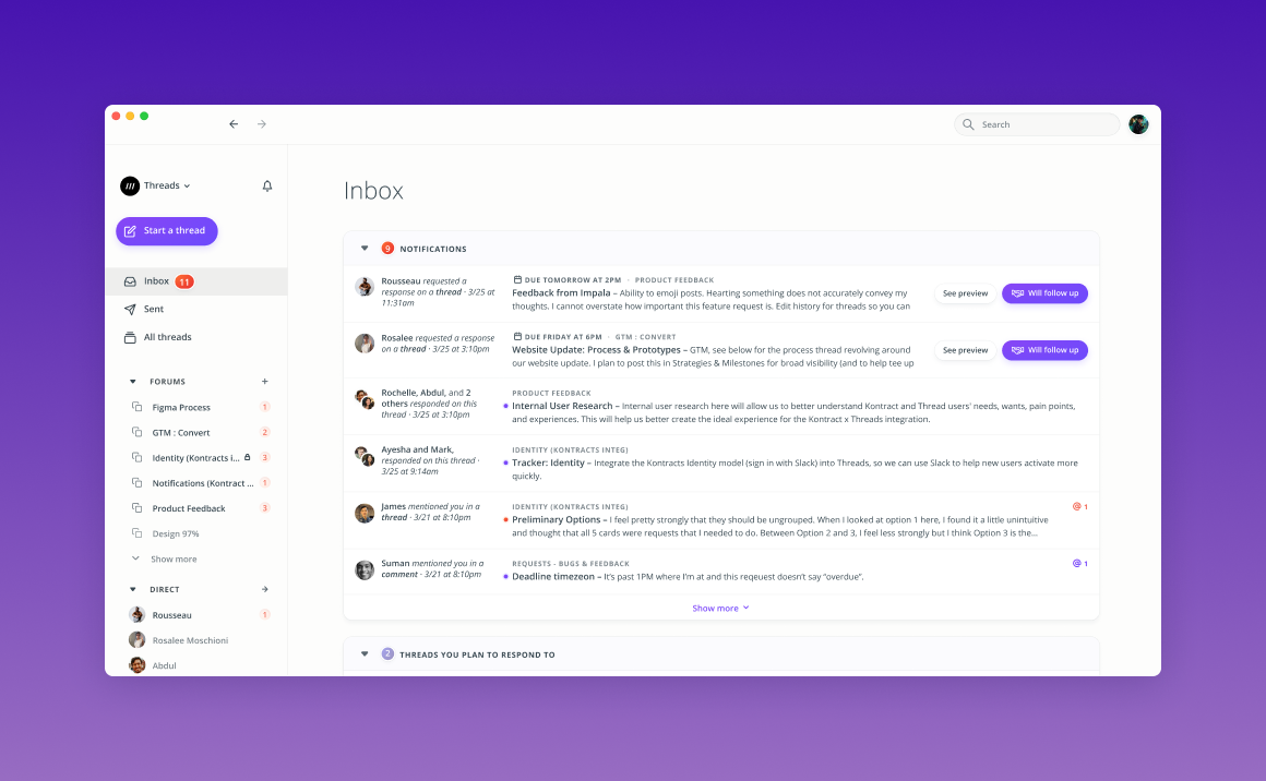 Keep track of requests and threads you plan to respond to from your inbox.