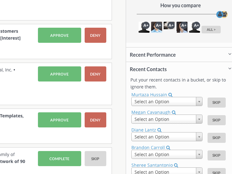 New contacts are automatically pulled from email for you to categorize or skip.