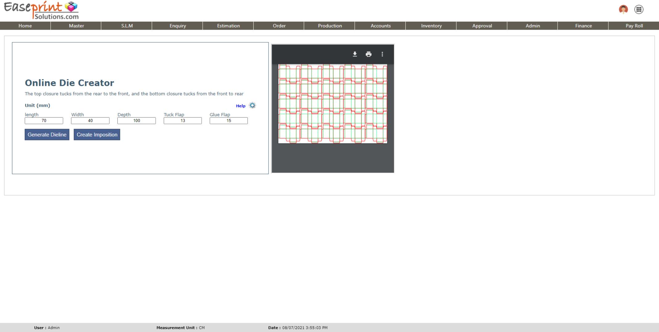 Easeprint Software - ONLINE DIE LINE GENERATOR