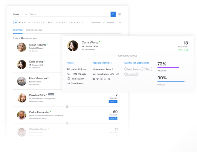 Interact screenshot: Interact's People Directory enables users to find and connect with co-workers easily