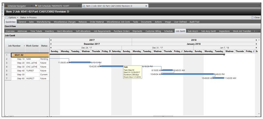 E2 Manufacturing System Software - Job Gantt