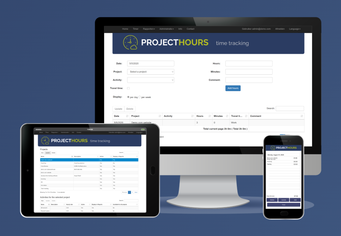 Project Hours screenshot: Project Hours is available on all your devices.