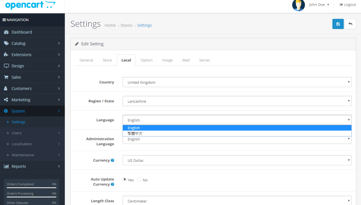 OpenCart language settings