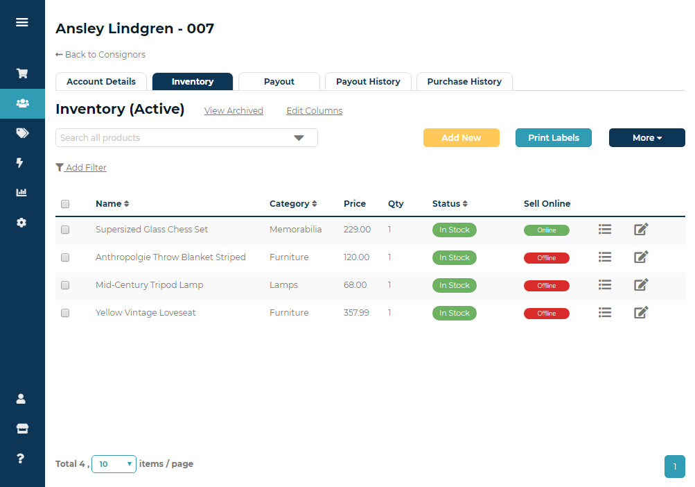 Ricochet Software - Full consignor login to view and edit current inventory, payouts, rent fees, and more.