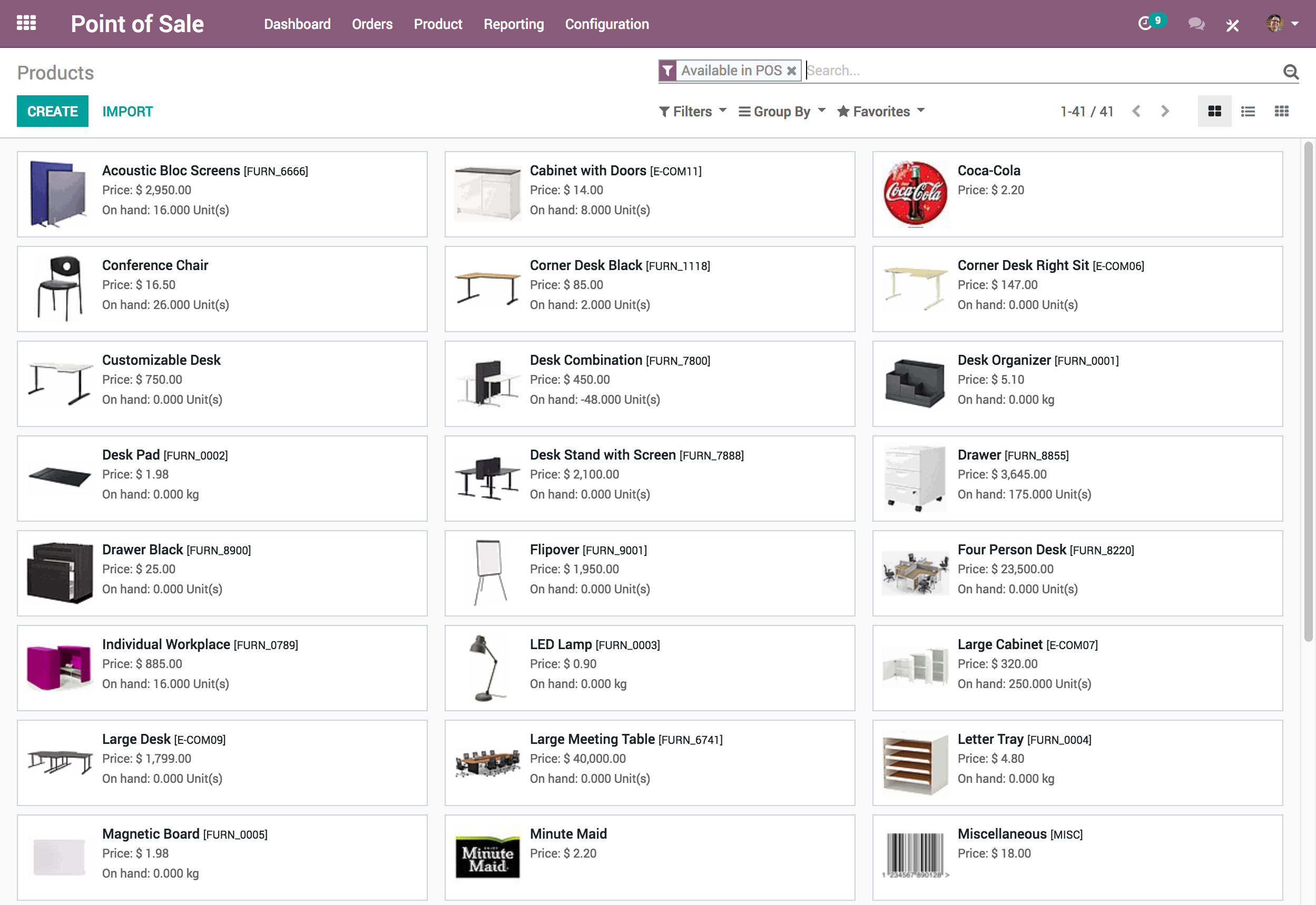 Odoo Point of Sale (POS) products screenshot