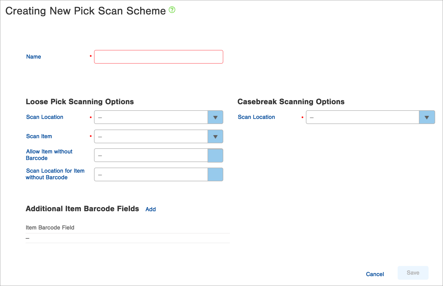 Custom pick scanning schemes can be set up