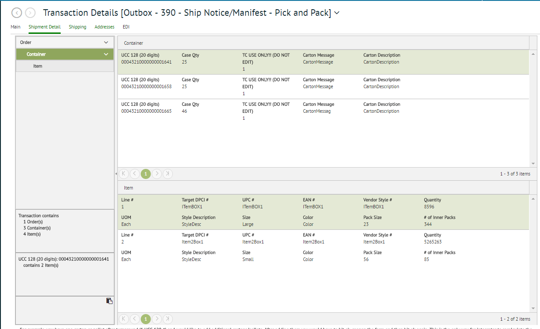TrueCommerce EDI Solutions transaction details screenshot