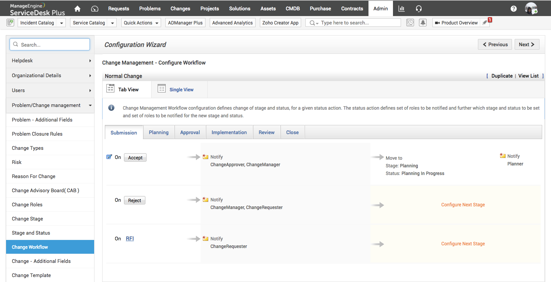 Configure workflow for change management