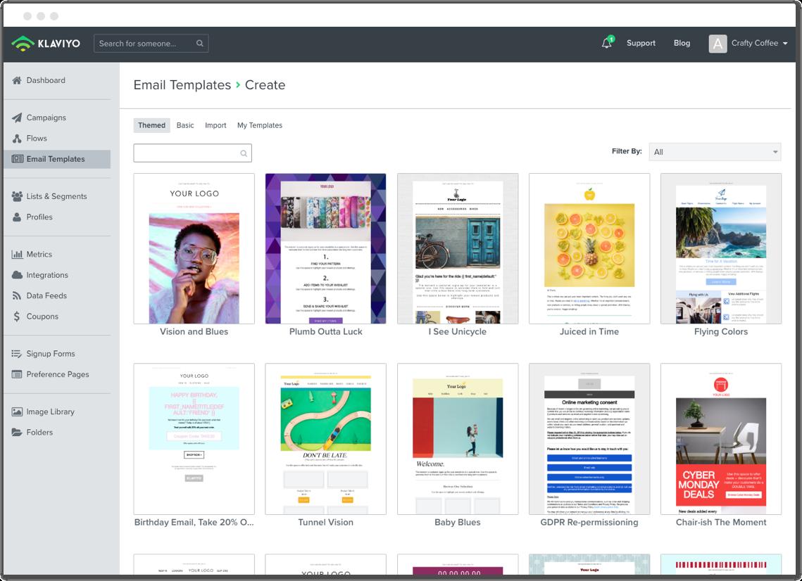 Klaviyo Software - Template library