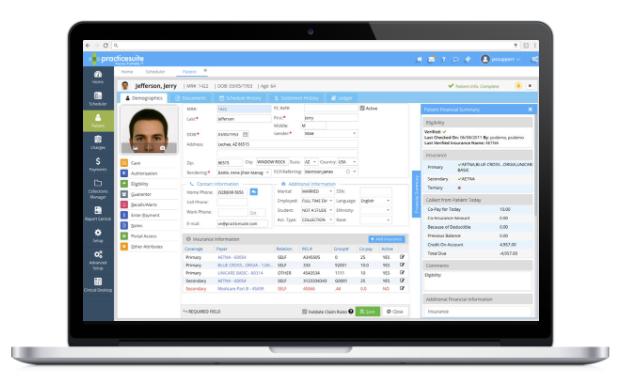 PracticeSuite screenshot: Access centralized patient information