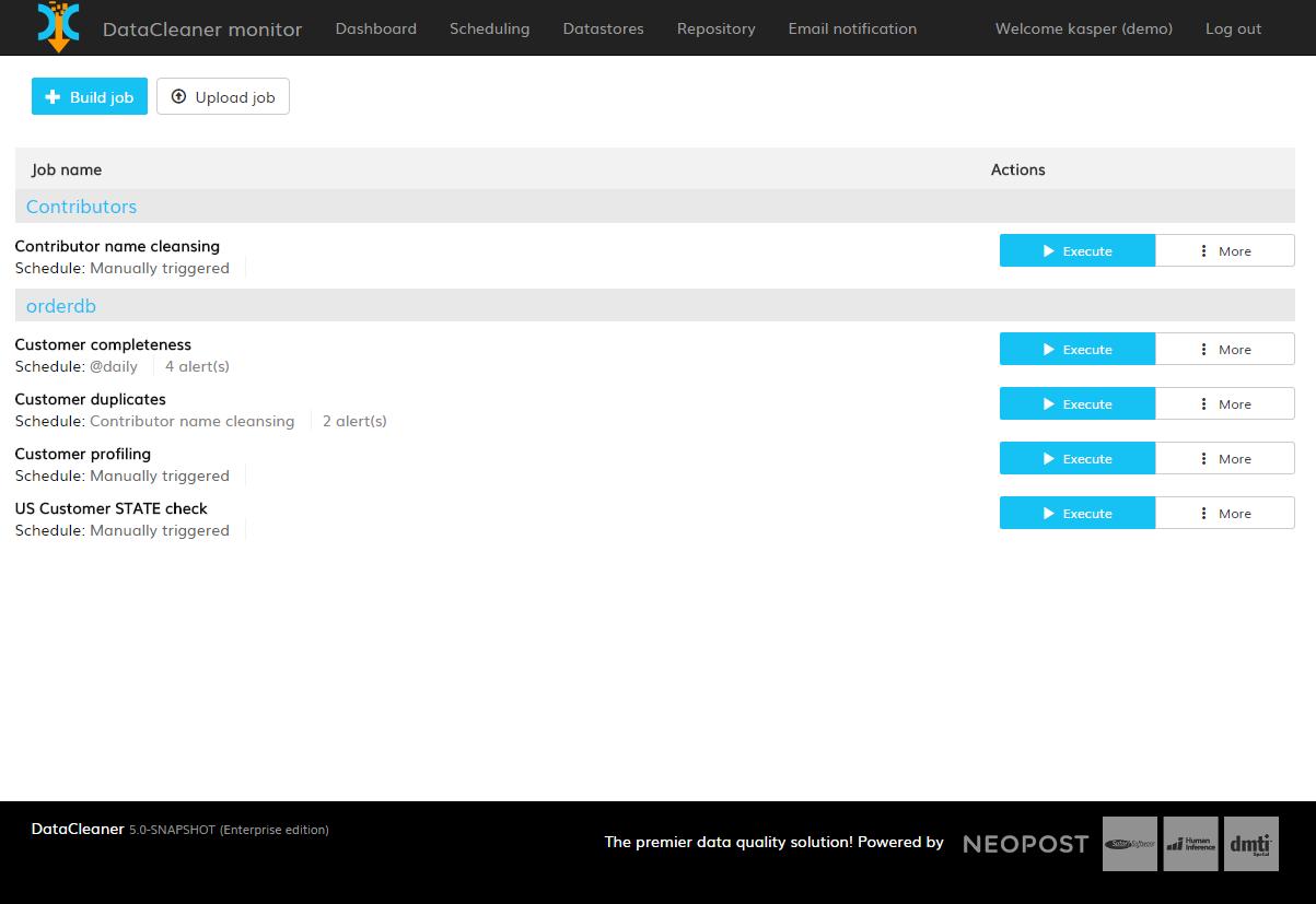 DataCleaner Software - Job list