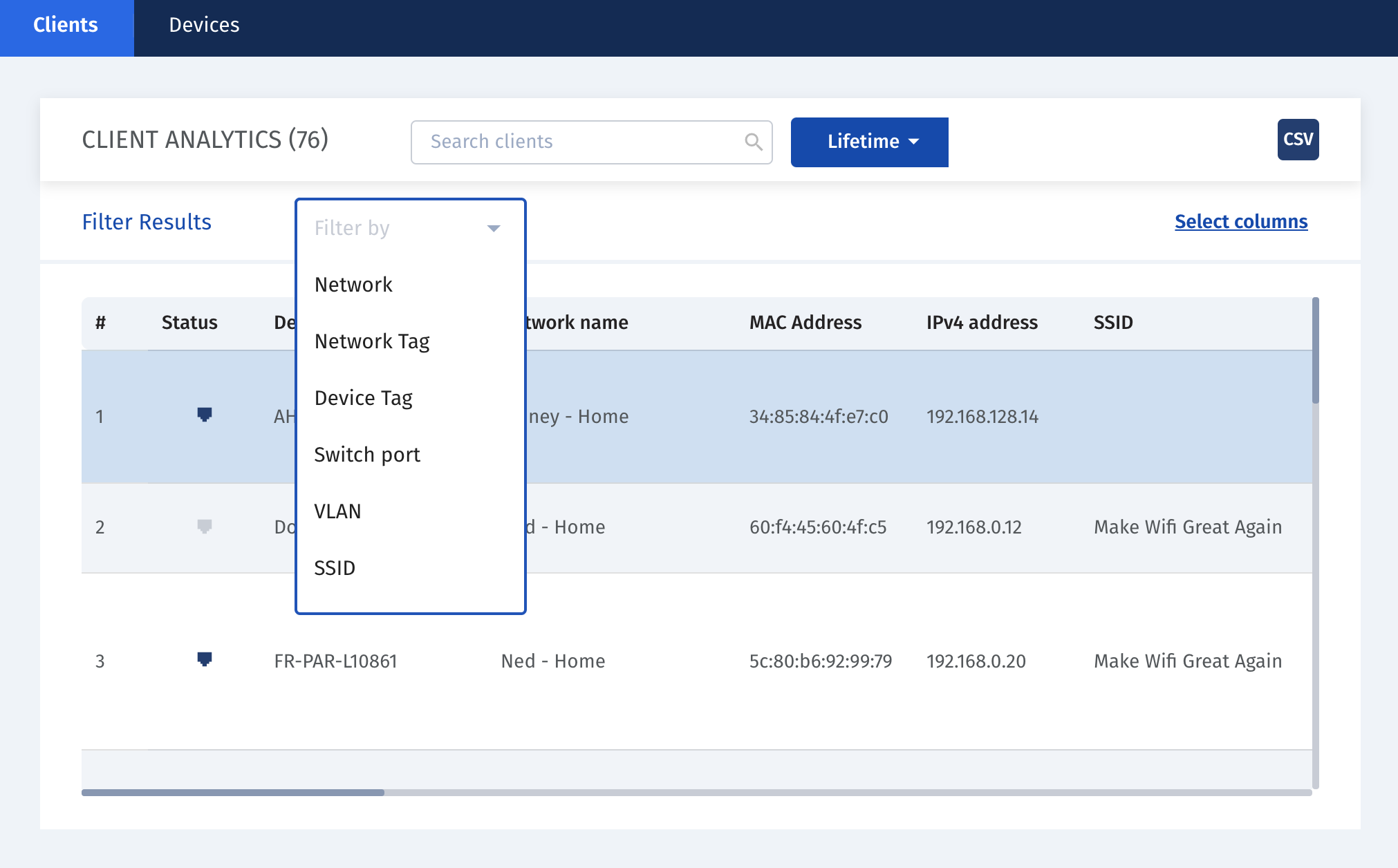 Improve device discovery and inventory. Aggregate all client and device information from an organization within one single dashboard and speed up research thanks to more advanced filtering tools.