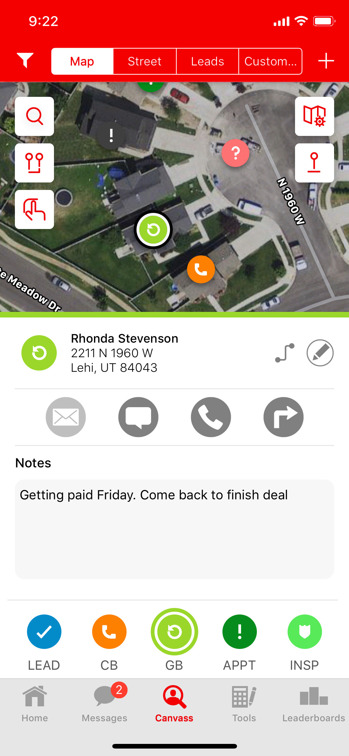 SalesRabbit screenshot: Capture a lead's information (name, phone number, email, address, etc). Rank each lead based on their level of interest. Drop pins on houses/businesses to track lead status. Call, text, or email leads directly from the app.