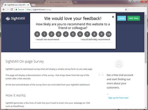 Add NPS surveys directly to the organization's website