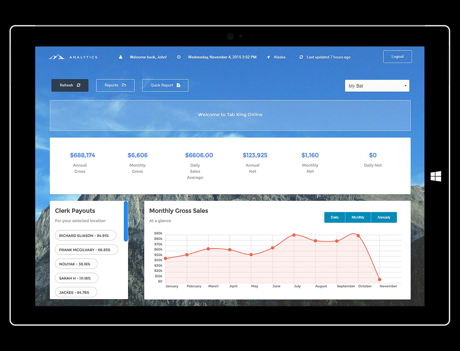 Tab King Software - Sales tab