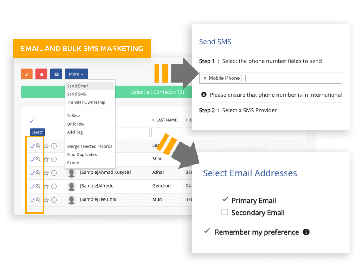 Send personalised email or SMS messages to your leads and contacts, for every action that your business needs to take and all from within the CRM system.