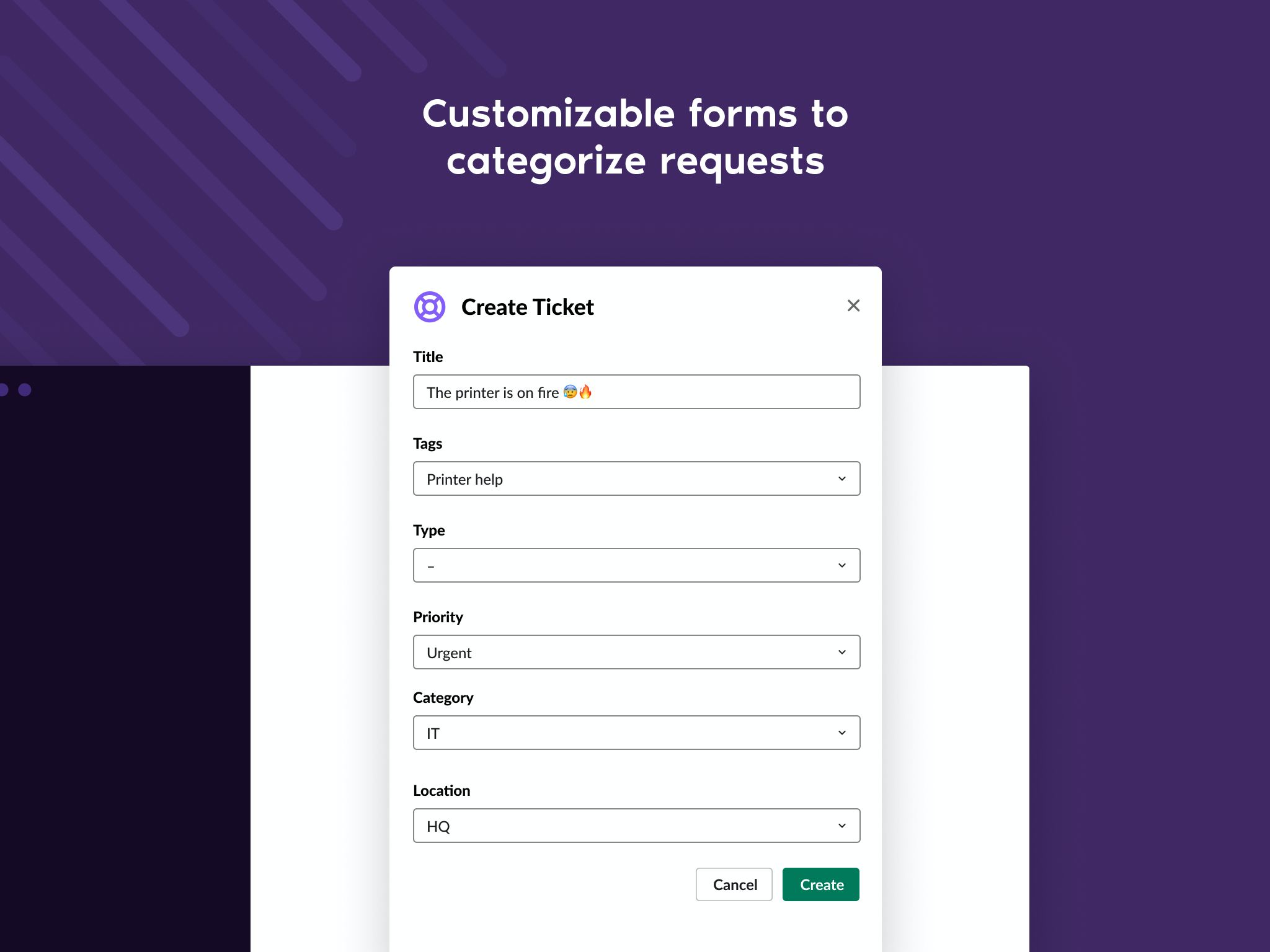 Agents and admins can create custom fields to track the values of different properties on tickets