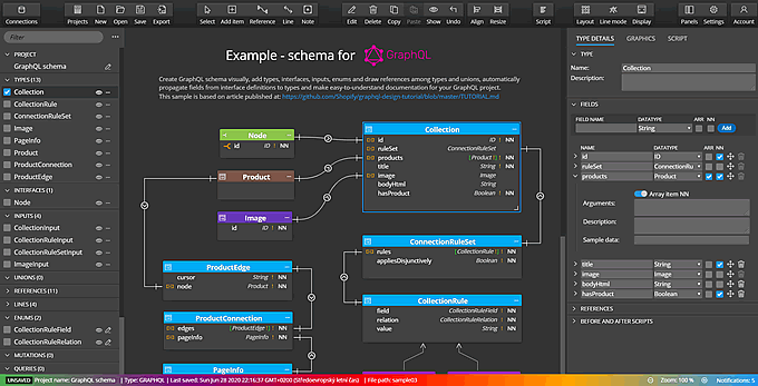Moon Modeler schema visualization for GraphSQL