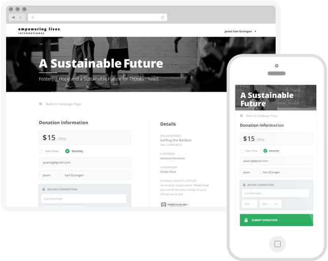 Customizable campaign pages are designed to motivate giving